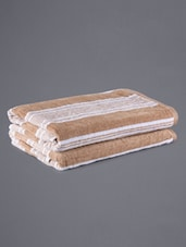 Set Of 2 Stripped Beige Bath Towels - Eurospa