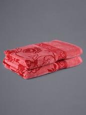 Set Of 2 Red Floral Pattern Bath Towels - Eurospa