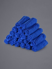 Set Of 20 Solid Blue Face Towels - Eurospa