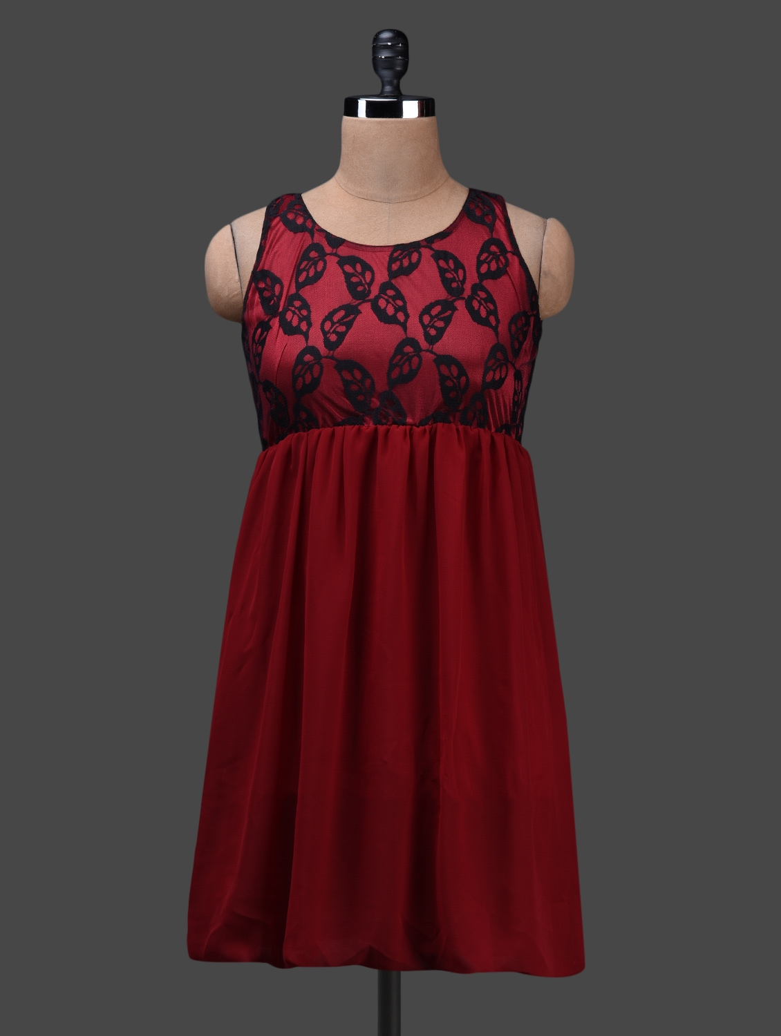 Round Neck Sleeveless Lace & Georgette Dress - Albely