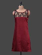 Sheer Lace Yoke Sleeveless Satin Dress - Albely