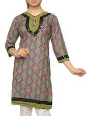 Quarter Sleeves Geometric Print Kurta - Pazaar Rashi