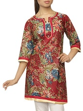 Quarter Sleeves Floral Print Cotton Kurti - Pazaar Rashi