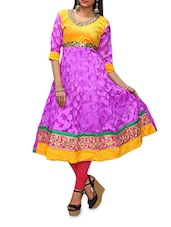 Purple Anarkali Kurta With Embroidered Lace-work - KIFA