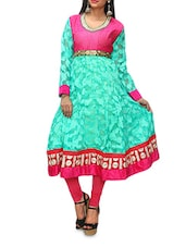 Sea-Green Anarkali Kurta With Embroidered Lace-work - KIFA