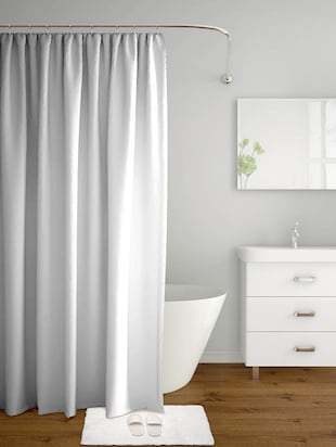 solid light grey polyester shower curtains