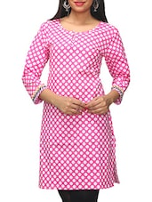 Pink Polka Dots Printed Cotton Kurti - KiFa Lifestyle