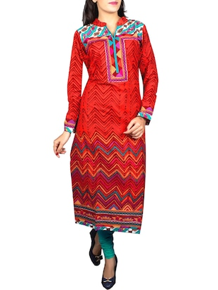 red cotton straight kurta