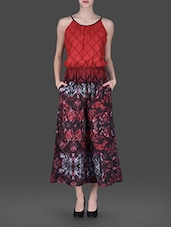 Halter Neck Printed Polyester Cotton Jumpsuit - TAURUS