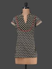 Black Short Sleeves Printed Cotton Short Kurti - MOTHER HOME