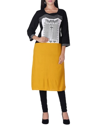 black & yellow rayon kurta