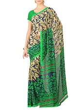 Floral And Leaf Printed Georgette Saree - Sumanjee
