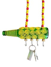 Yellow Spiral Painted Bottle Key Hanger - Kavi The Poetry Art Project