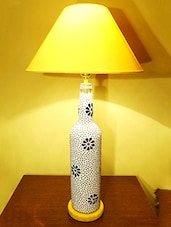 Floral Pattern Marbles Embellished Bottle Table Lamp - Kavi The Poetry Art Project