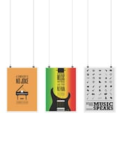 Set Of 3 Music Inspirational And Motivational Quotes Poster - Lab No. 4 - Poster