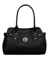 Plain Solid Black Leatherette Handbag - FOSTELO