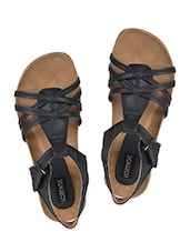 Velcro Closure Back Strap Flat Sandals - LOZENGE