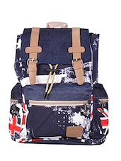 blue canvas printed backpack -  online shopping for backpacks