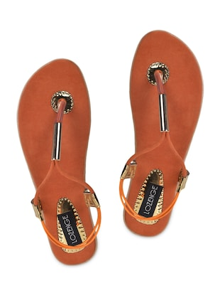 509b3b9c51e0 Buy Embellished Back Strap Orange Sandals for Women from Lozenge for ₹799  at 0% off