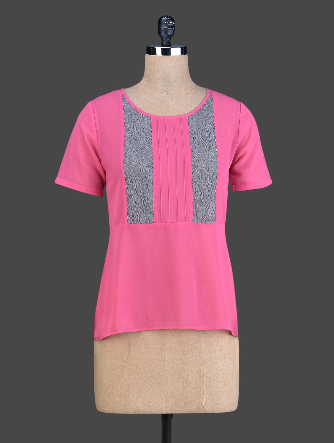 Pink High-Low Top With Blue Lace Panels - Instacrush
