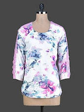 White Floral Printed High-Low Top - Instacrush