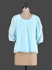 Sky Blue Quarter-Sleeved Poly Chiffon Top - Instacrush