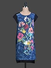 Blue Floral Printed High-Low Cotton Kurti - Instacrush