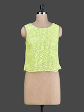 Lime Green Sequined Sleeveless Top - Instacrush