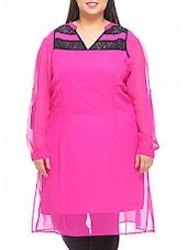 Pink Cotton Kurti With Black Lace Panels - PLUSS