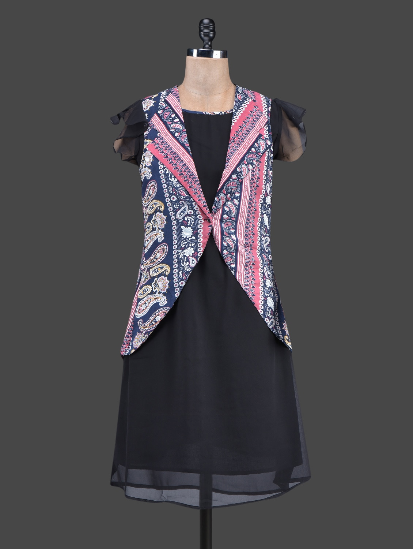Black Dress With Paisley Printed Coral Jacket - Ayaany