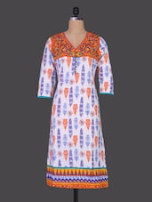 Floral Yoke Quarter Sleeves Cotton Kurta - Prakhya