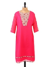 Floral Yoke Panel Quarter Sleeve Pink Kurta - Fashion205