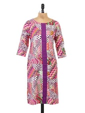 Multicolor Zig Zag Printed Purple Kurta - Fashion205