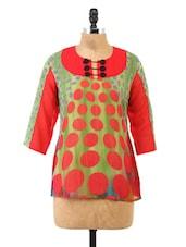 Multicolour Polka Dot Printed Quarter Sleeve Top - Fashion205