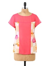 Pink Floral Printed Panel Georgette Top - Fashion205