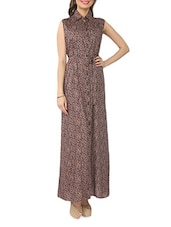 Brown Collared Viscose Sleeveless Maxi Dress - From The Ramp