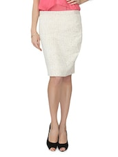 Cream Printed Cotton Blend Pencil Skirt - From The Ramp