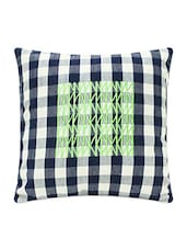 Navy Blue And White Chequered Cotton Cushion Cover - Blueberry Homes - 1140175