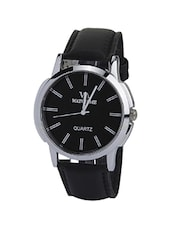 black leather men analog watch -  online shopping for Men Analog Watches