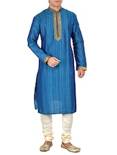 blue silk blend kurta pyjama set -  online shopping for ethnic wear sets