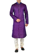 purple silk blend sherwani kurta -  online shopping for Kurtas