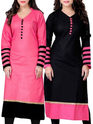 multi colored cotton kurta set