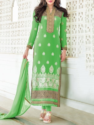 green georgette unstitched suit