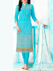 blue embroidered dress material -  online shopping for Unstitched Suits