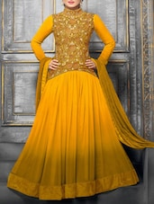 Ombre Orange Flared Suit Set With Embroidery - Thankar