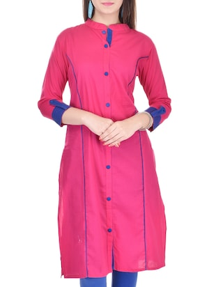 pink and blue cotton kurta