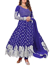Embroidered Blue Georgette Anarkali Suit Set - Whatshop