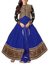 Blue & Black Embroidered Georgette Anarkali Suit - Whatshop