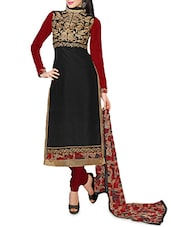 Black Embroidered Chanderi Unstitched Churidar Suit Set - Fabfiza