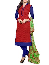 Red Embroidered Chanderi Unstitched Churidar Suit Set - Fabfiza